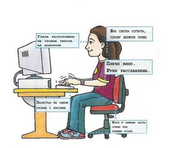 Правильное положение шеи при сидении