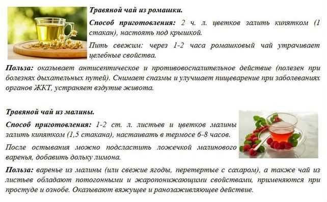 Травяной чай из ромашки и из малины