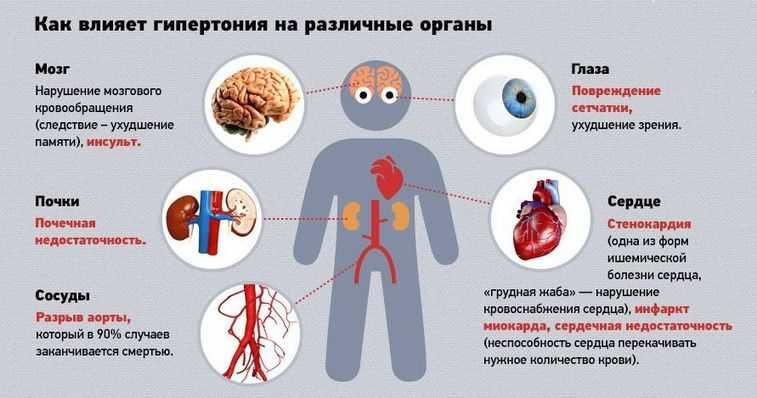 Как гипертония влияет на различные органы