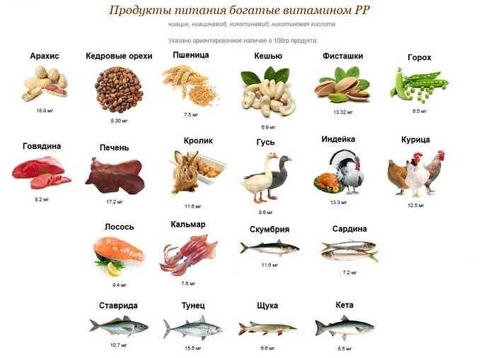 Продукты питания богатые витамином РР