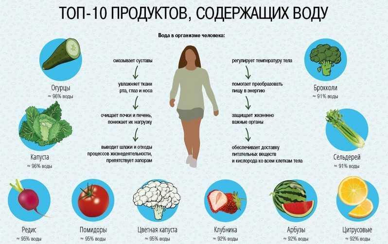 Топ-10 продуктов с большим содержанием воды